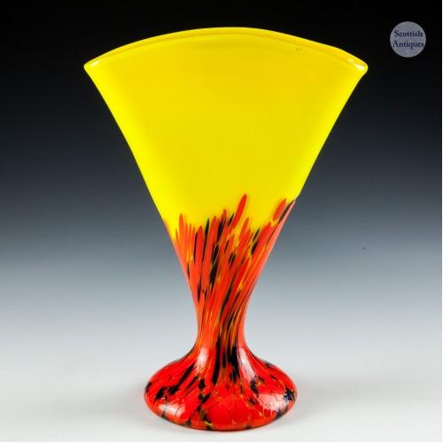 A Kralik Spatter Glass Fan Vase c1930