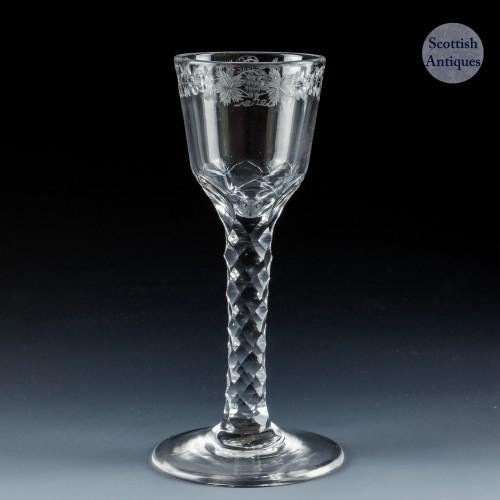 Engraved Georgian Diamond Facet  Cut Stem Wine Glass c1770
