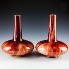 A Pair of Loetz Carneol Glass Bottle Vases c1900 Was £120