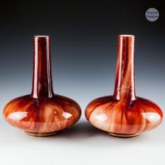 A Pair of Loetz Carneol Glass Bottle Vases c1900