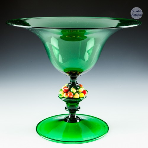 A Murano Footed Bowl With Lampwork Applied Fruits c1930