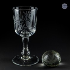 R Ellison Engraved Goblet and Paperweight