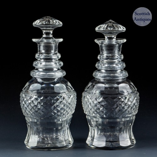 A Pair of Regency Miniature Cut Glass Decanters c1830