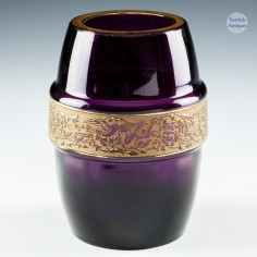 Amethyst Glass Barrel Shaped Vase With Gilded Birds c1920