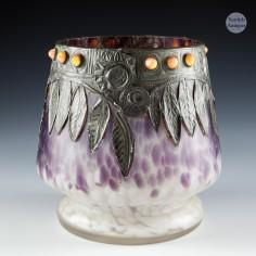 A Jungendstil Glass Vase with Cabochons and Pewter Decor c1900