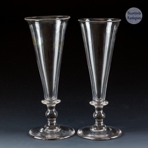 Pair of Lipped Georgian Champagne Flutes c1810