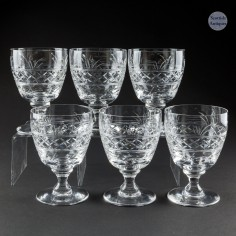 Six Signed Stuart Crystal White Wine Glasses c1950