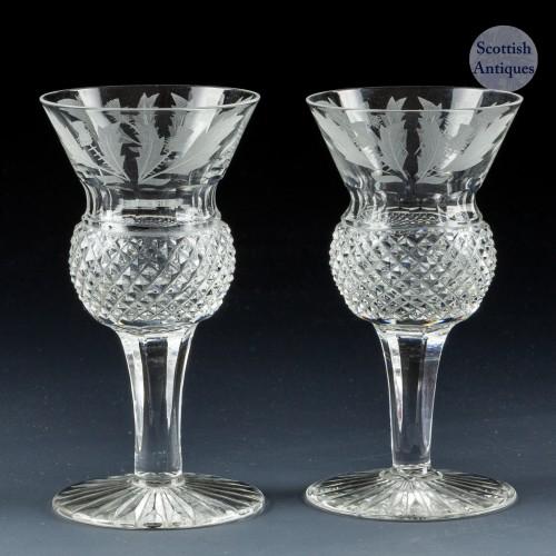 A Pair of Edinburgh Thistle Cut Liqueur Glasses