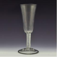 A Tall Georgian Petal Moulded Air Twist Stem Ale Glass c1750