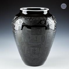 H P Sinclaire American Nubian Black Line Glass Vase c1925