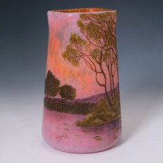 An Enamelled Landscape Legras Glass Vase c1920