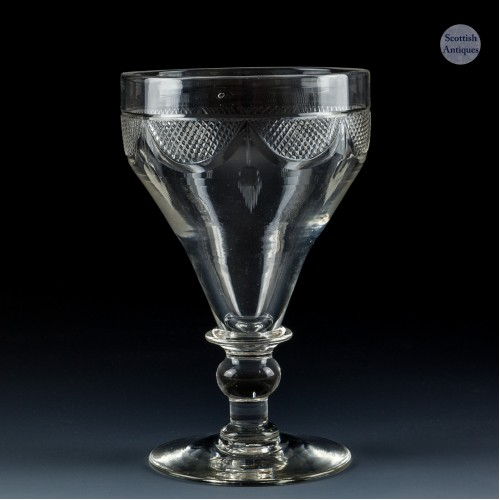 Cut And Engraved Pan Top Glass Rummer c.1930