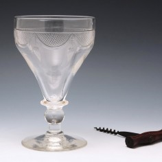 Large Cut And Engraved Pan Top Glass Rummer c.1930