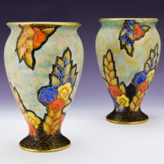 Pair Deco Fieldings Crown Devon Vases c1935