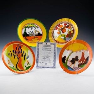 Set of Four Wedgwood Plates  Bizarre Living Landscapes Of Clarice Cliff
