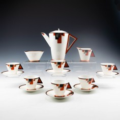 "Shelley Porcelain Art Deco ""Vogue"" Pattern Coffee Set c1930"