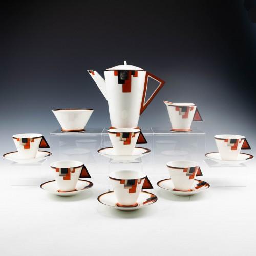"""Shelley Porcelain Art Deco """"Vogue"""" Pattern Coffee Set c1930"""