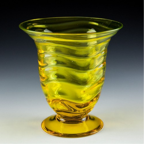 A Webb Uranium Glass Wave Pattern Vase Designed 1931