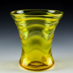 A Webb Yellow Uranium Glass Wave Pattern Vase Designed 1931