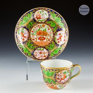Coalport Bute Shaped Imari Pattern Teacup and Saucer c1815