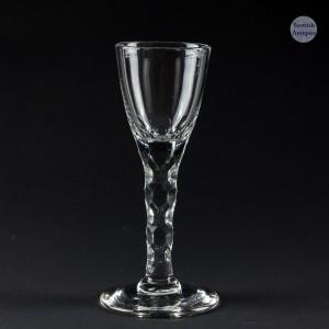18th Century Facet Cut Wine Glass c1770