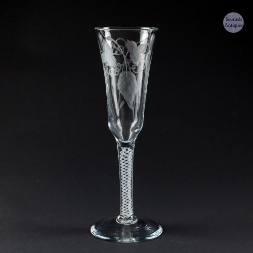 Tall Engraved Georgian Single Series Opaque Twist Stem Ale Glass c1760