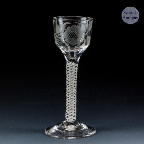An Engraved Double Series Opaque Twist Wine Glass c1760