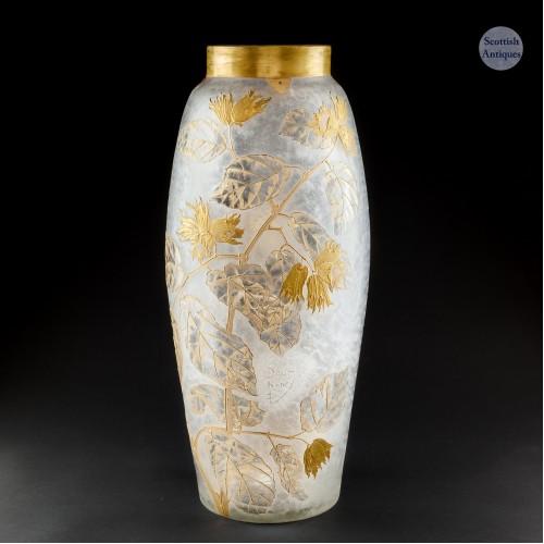 A Vary Large Daum Acid Cut  Gilded Vase c1900