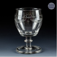 Georgian In-Curved Bowl Engraved Glass Rummer c1820