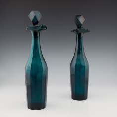 Pair of Peacock Blue Gothic Revival Decanters c1865