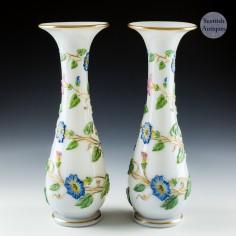 A Pair Baccarat Opaline Floral Vases c1860