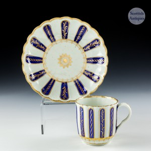 Worcester Coffee cup and Saucer c1785 - Ex Zorensky