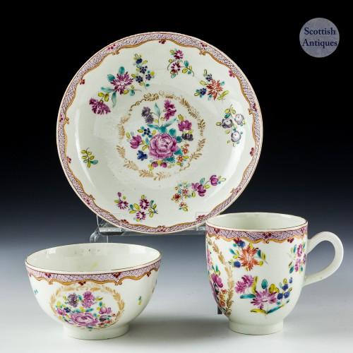 Worcester Porcelain Comagnie Des Indes Trio c1770