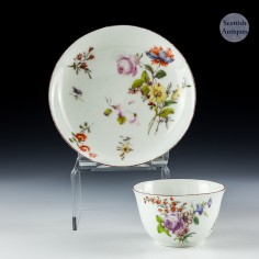 A Chelsea Porcelain Red Anchor Period Tea Bowl and Saucer c1755