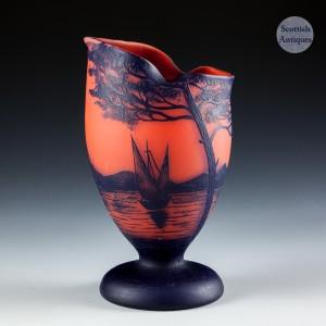 A French Richard  Acid Cut Cameo Glass Vase  c1925