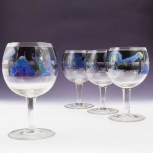 Four Art Deco Signed Vetri Della Arte VEDAR Cocktail Glasses  c1925