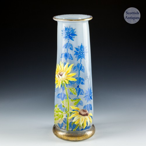 Crystallerie De Pantin  Enamelled And Optically Moulded Vase H Berge c1900