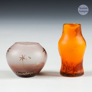 Two Miniature Dolls House Cameo Vases c1900