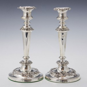 Pair Very Fine Sterling Silver Candlesticks Sheffield 1815