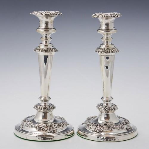 Pair Very Fine Sterling Silver Candlesticks Sheffield 1815