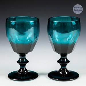 Pair of Peacock Blue Wine Glasses c1830