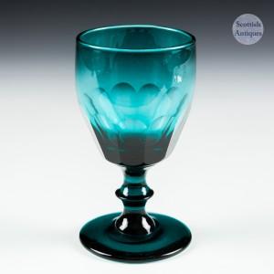 Peacock Blue Wine Glass c1830