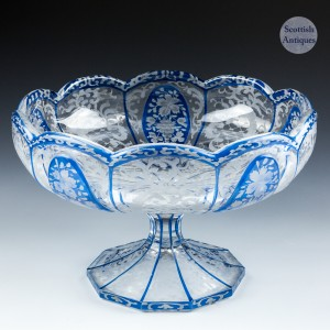 A Bohemian Blue Flashed and Engraved Footed Bowl c1900