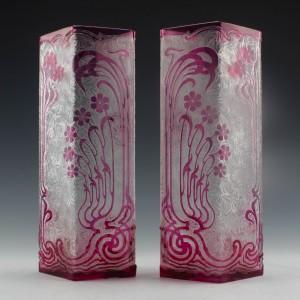Pair of Baccarat Eglantier Vases c1900