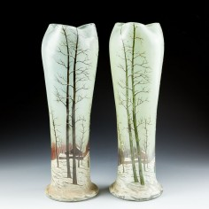A Pair of Legras Vases With Winter Scenes c1920