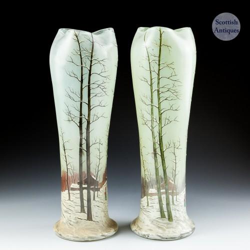 A Pair of Legras Vases With Winter Scenes c1920