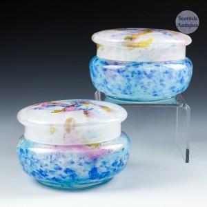 Pair Muller Freres Glass Trinket Boxes c1925