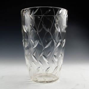 John Walsh Walsh Signed Clyne Farquaharson Leaf Pattern Vase c1936