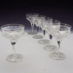 Six Webb Corbett Rock Crystal Champagne Coupes c1940