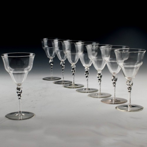 A Set of Eight James Powell & Sons Red Wine Glasses c1880/90